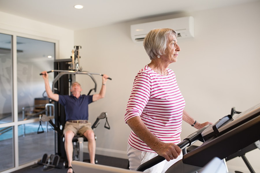 Exercise and gym equipment is available to be used aspiring